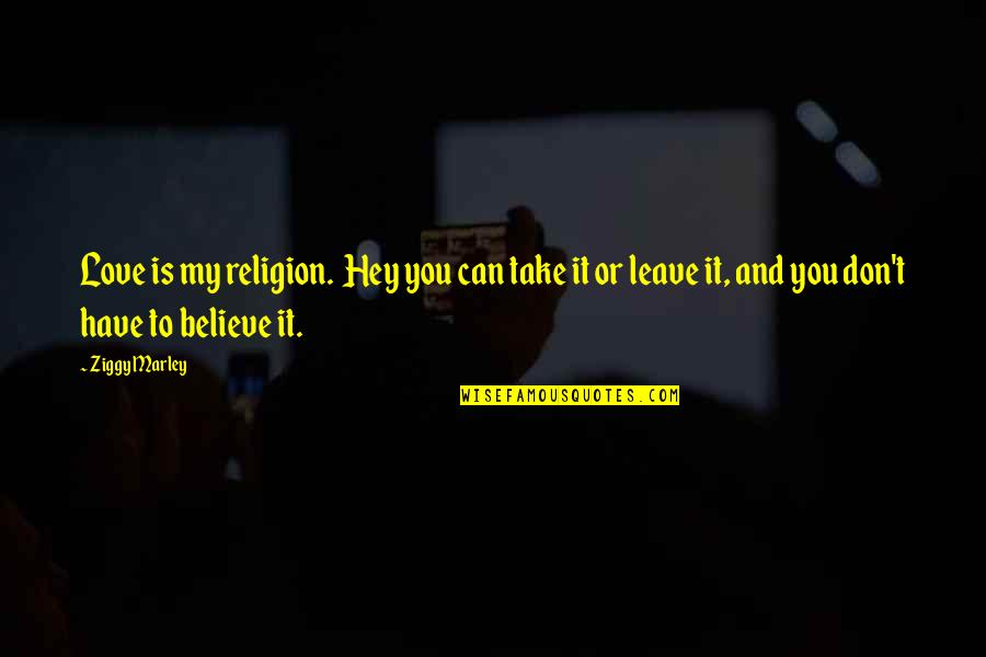 Ziggy Marley Quotes By Ziggy Marley: Love is my religion. Hey you can take