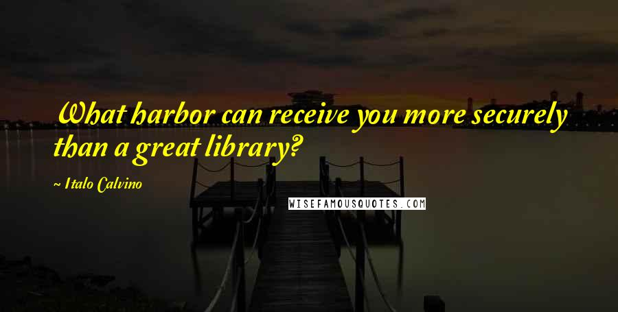 Italo Calvino Quotes: What harbor can receive you more securely than a great library?
