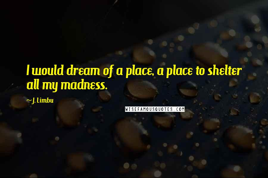 J. Limbu Quotes: I would dream of a place, a place to shelter all my madness.