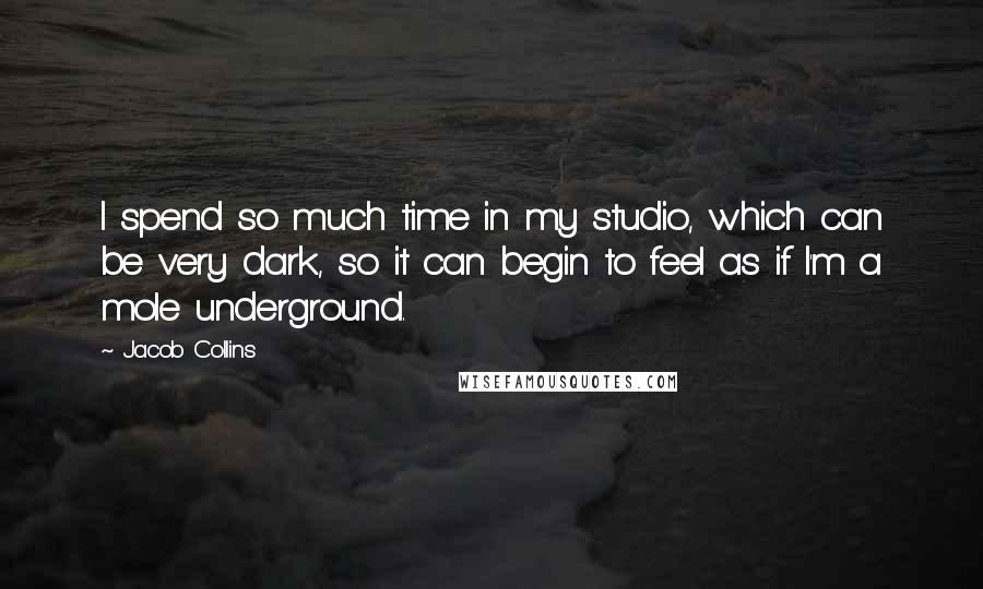 Jacob Collins Quotes: I spend so much time in my studio, which can be very dark, so it can begin to feel as if I'm a mole underground.