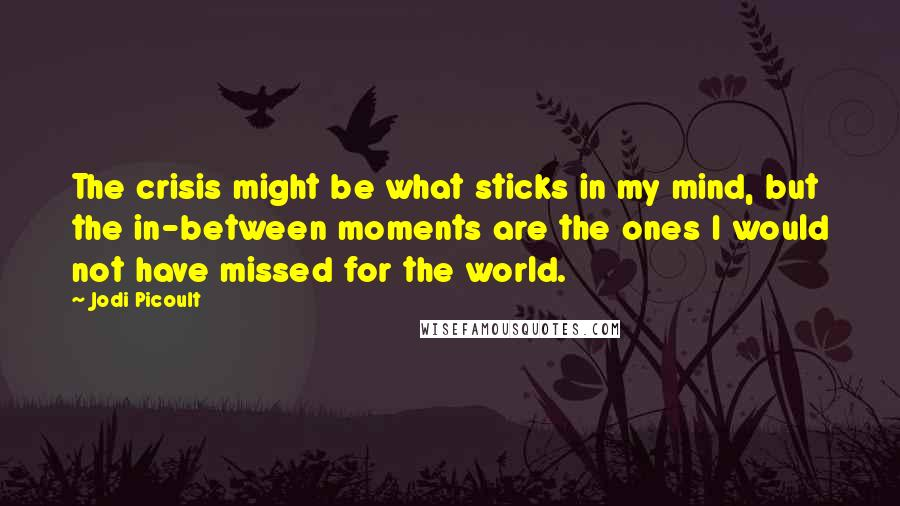 Jodi Picoult Quotes: The crisis might be what sticks in my mind, but the in-between moments are the ones I would not have missed for the world.