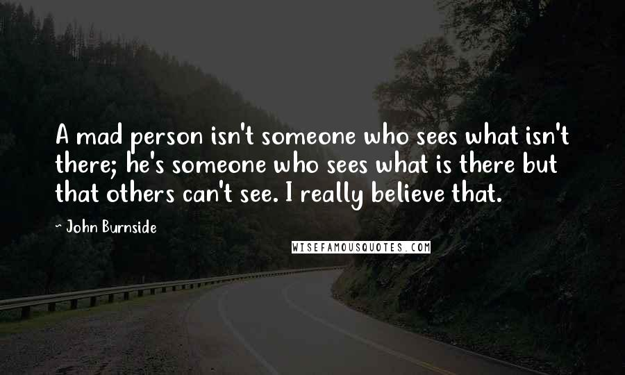 John Burnside Quotes: A mad person isn't someone who sees what isn't there; he's someone who sees what is there but that others can't see. I really believe that.