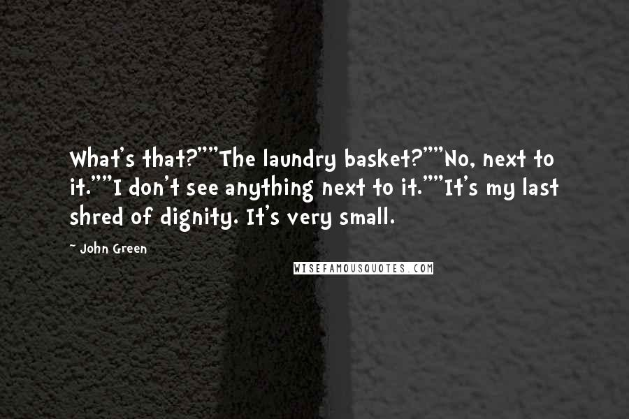 "John Green Quotes: What's that?""""The laundry basket?""""No, next to it.""""I don't see anything next to it.""""It's my last shred of dignity. It's very small."