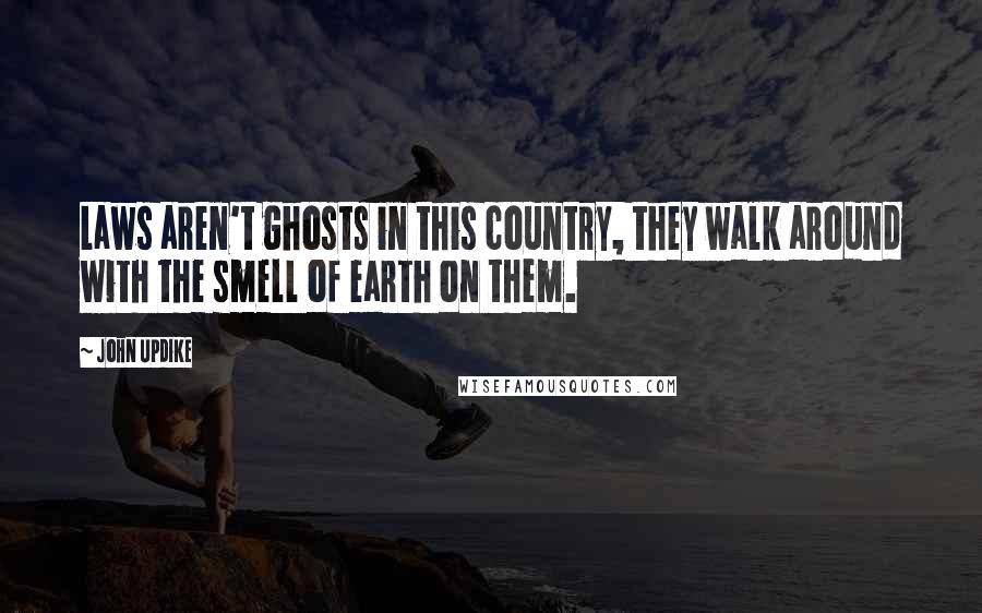 John Updike Quotes: Laws aren't ghosts in this country, they walk around with the smell of earth on them.