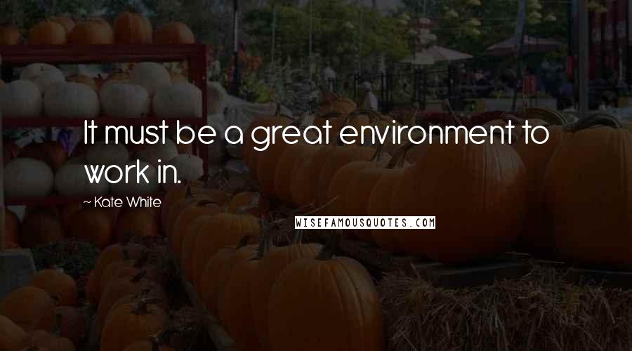 Kate White Quotes: It must be a great environment to work in.