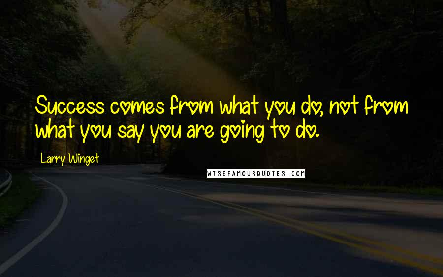 Larry Winget Quotes: Success comes from what you do, not from what you say you are going to do.