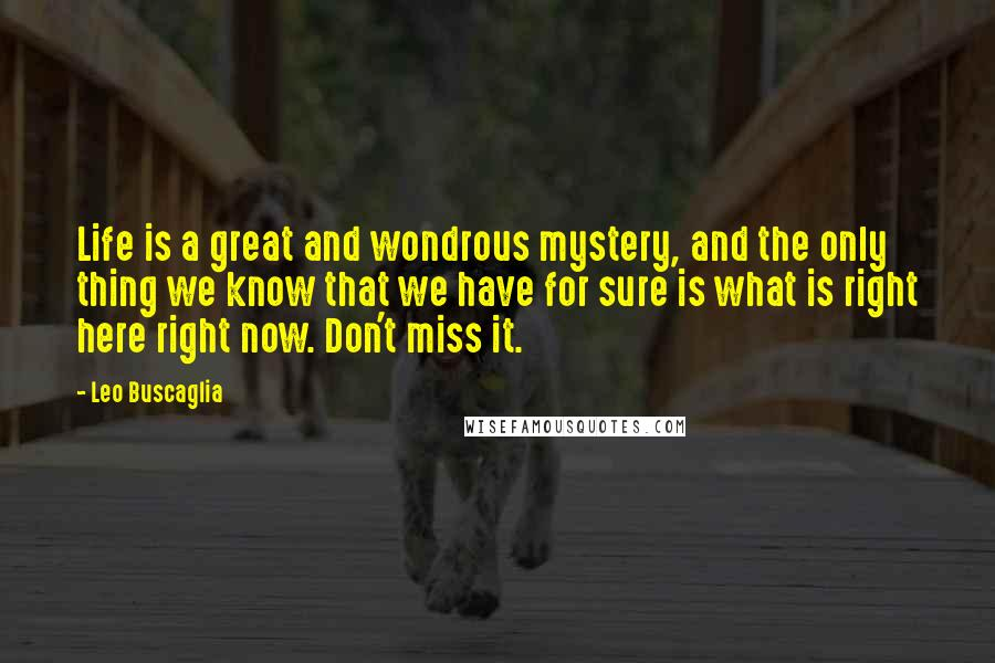 Leo Buscaglia Quotes: Life is a great and wondrous mystery, and the only thing we know that we have for sure is what is right here right now. Don't miss it.