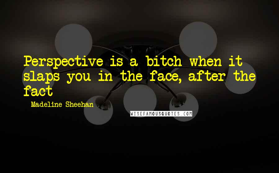 Madeline Sheehan Quotes: Perspective is a bitch when it slaps you in the face, after the fact