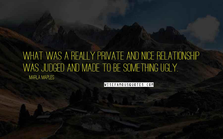 Marla Maples Quotes: What was a really private and nice relationship was judged and made to be something ugly.