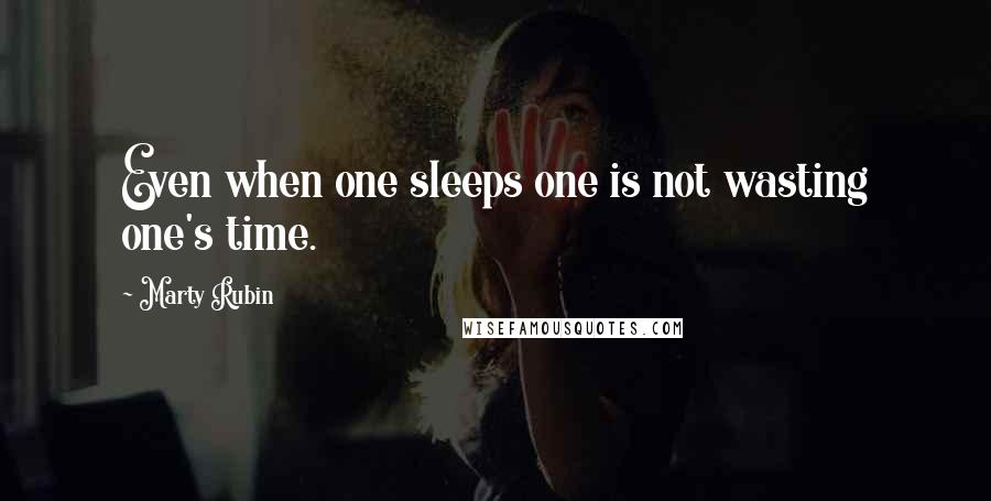 Marty Rubin Quotes: Even when one sleeps one is not wasting one's time.