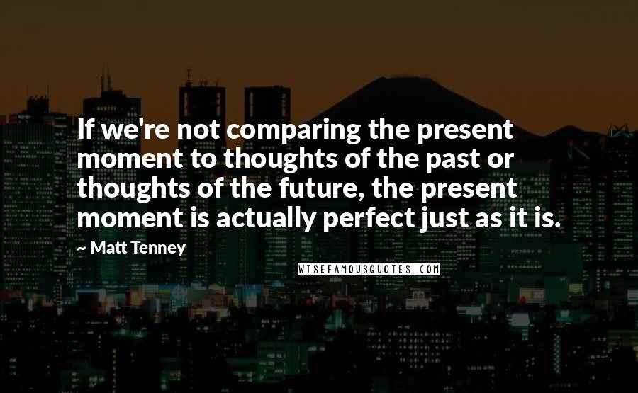 Matt Tenney Quotes: If we're not comparing the present moment to thoughts of the past or thoughts of the future, the present moment is actually perfect just as it is.