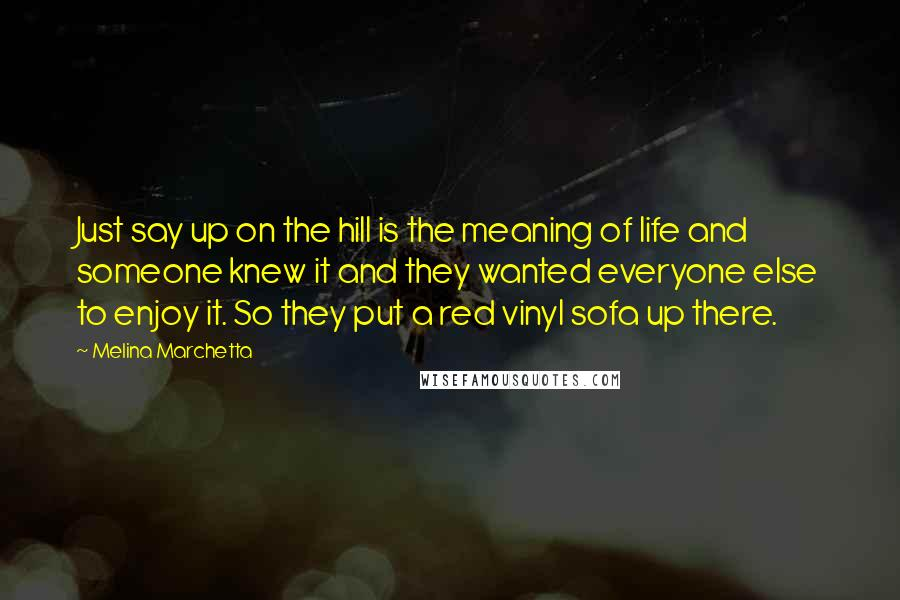 Melina Marchetta Quotes: Just say up on the hill is the meaning of life and someone knew it and they wanted everyone else to enjoy it. So they put a red vinyl sofa up there.