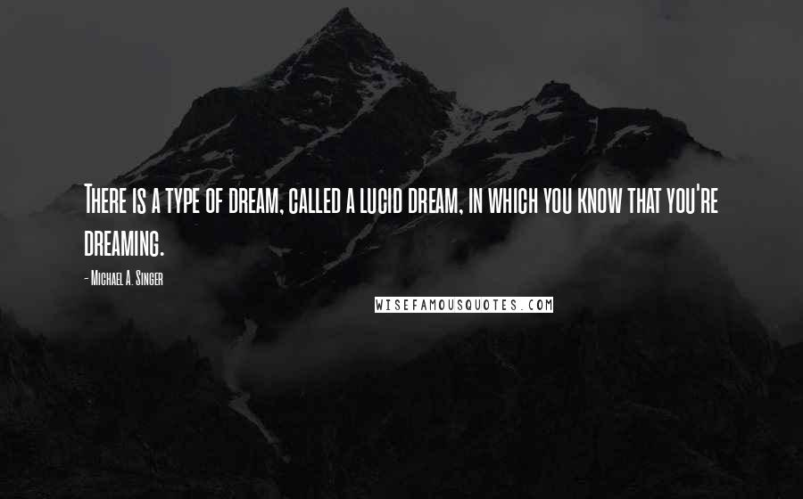 Michael A. Singer Quotes: There is a type of dream, called a lucid dream, in which you know that you're dreaming.