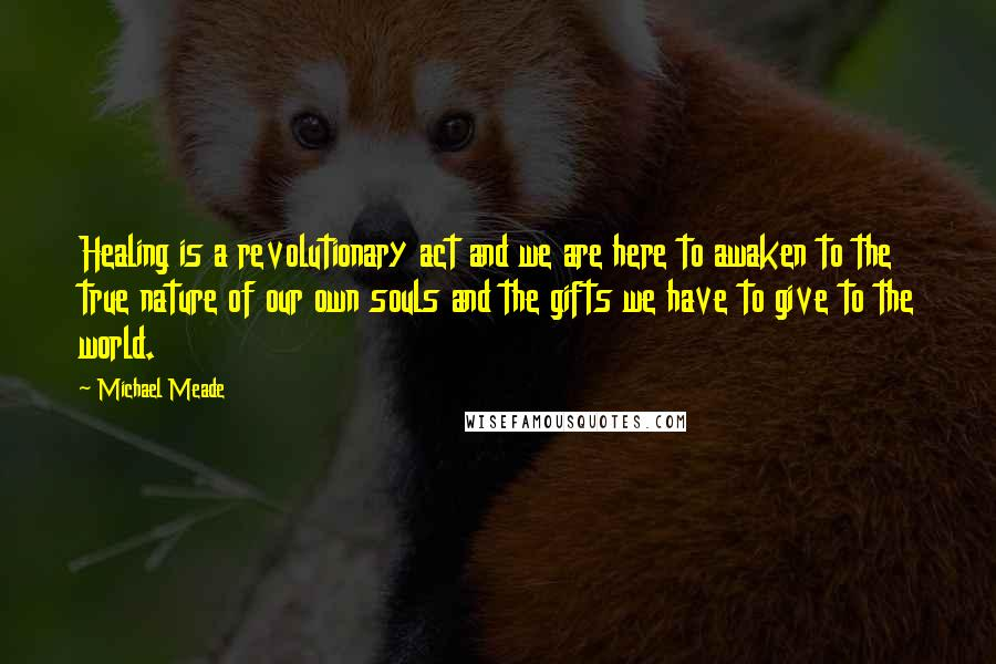 Michael Meade Quotes: Healing is a revolutionary act and we are here to awaken to the true nature of our own souls and the gifts we have to give to the world.