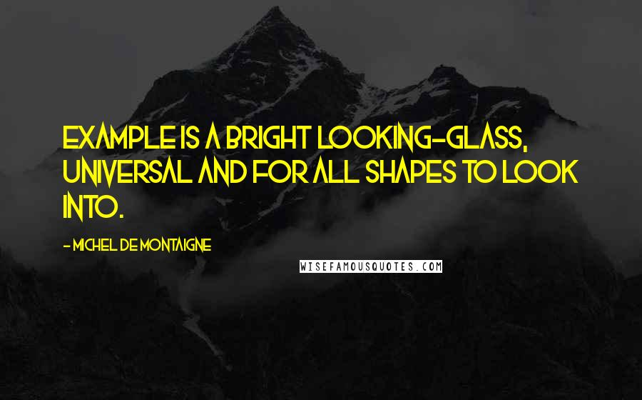 Michel De Montaigne Quotes: Example is a bright looking-glass, universal and for all shapes to look into.