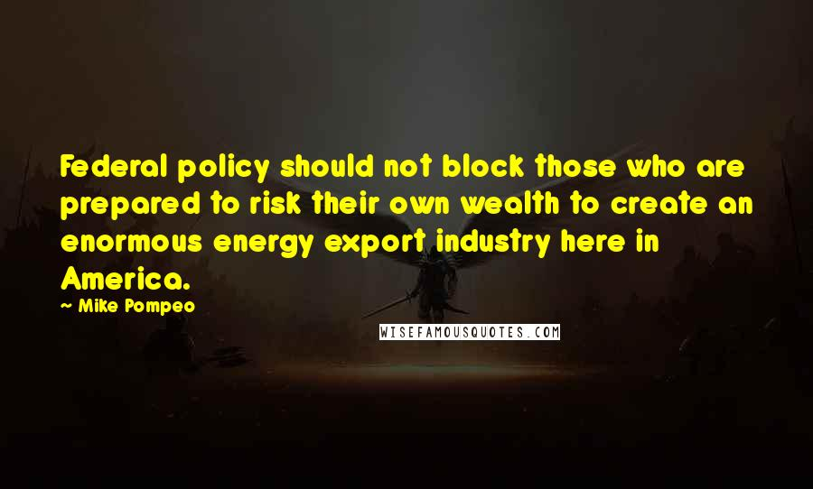Mike Pompeo Quotes: Federal policy should not block those who are prepared to risk their own wealth to create an enormous energy export industry here in America.