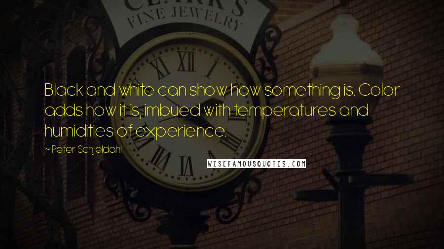 Peter Schjeldahl Quotes: Black and white can show how something is. Color adds how it is, imbued with temperatures and humidities of experience.