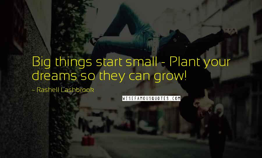 Rashell Lashbrook Quotes: Big things start small - Plant your dreams so they can grow!
