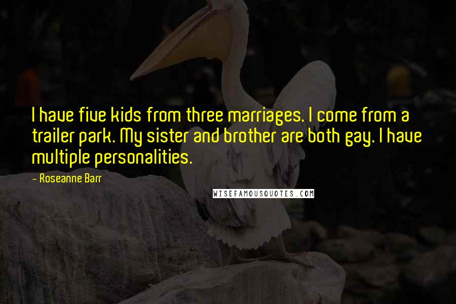 Roseanne Barr Quotes: I have five kids from three marriages. I come from a trailer park. My sister and brother are both gay. I have multiple personalities.