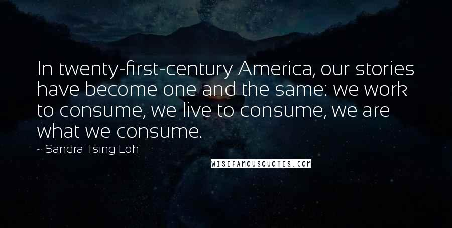 Sandra Tsing Loh Quotes: In twenty-first-century America, our stories have become one and the same: we work to consume, we live to consume, we are what we consume.
