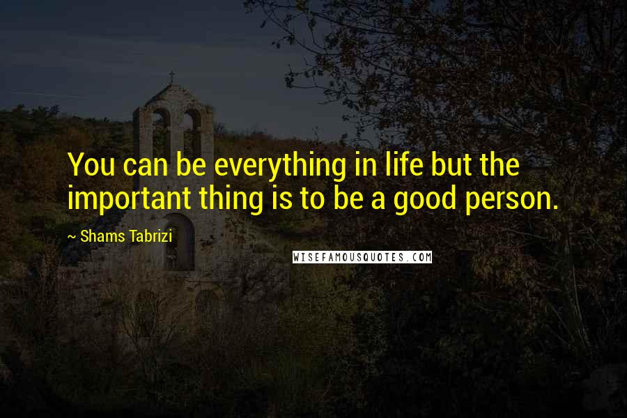 Shams Tabrizi Quotes: You can be everything in life but the important thing is to be a good person.