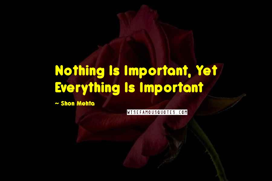 Shon Mehta Quotes: Nothing Is Important, Yet Everything Is Important