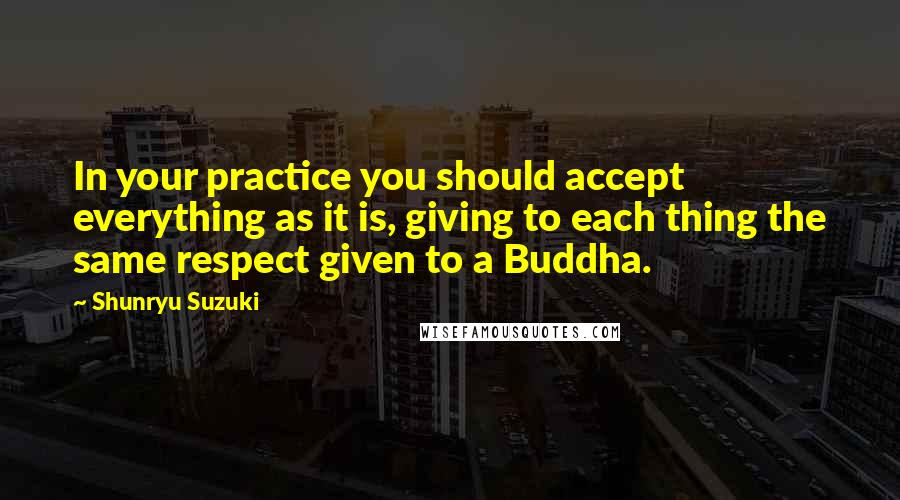 Shunryu Suzuki Quotes: In your practice you should accept everything as it is, giving to each thing the same respect given to a Buddha.