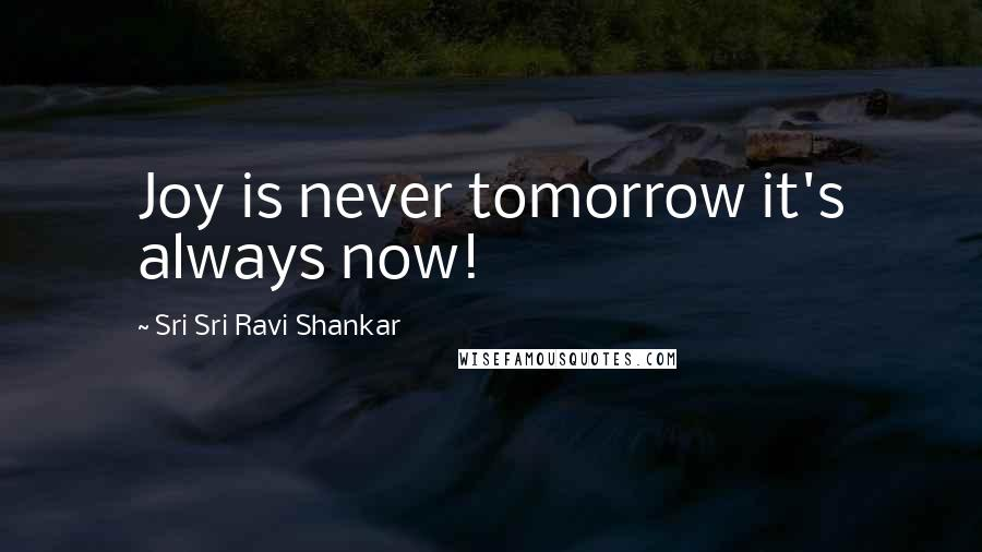 Sri Sri Ravi Shankar Quotes: Joy is never tomorrow it's always now!