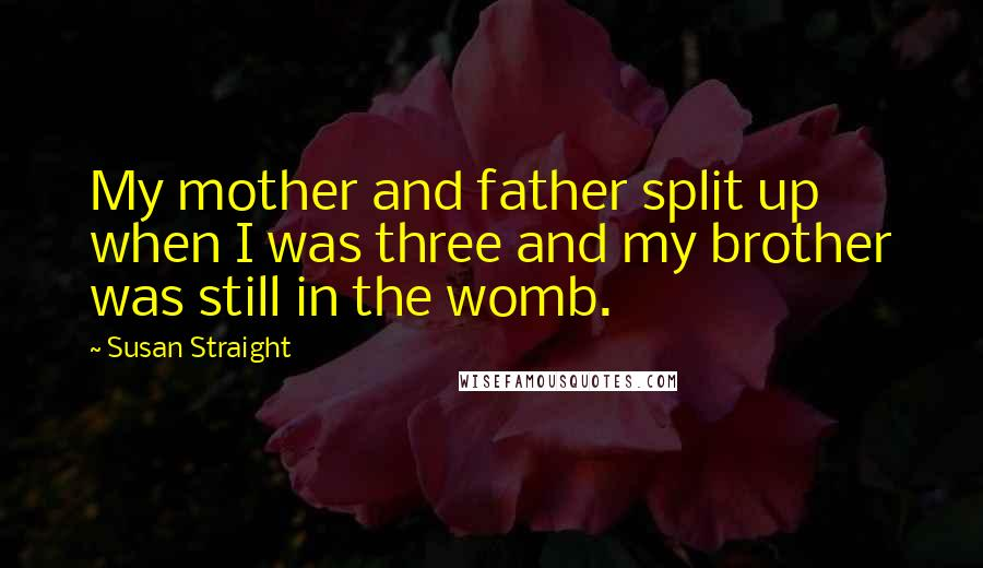 Susan Straight Quotes: My mother and father split up when I was three and my brother was still in the womb.