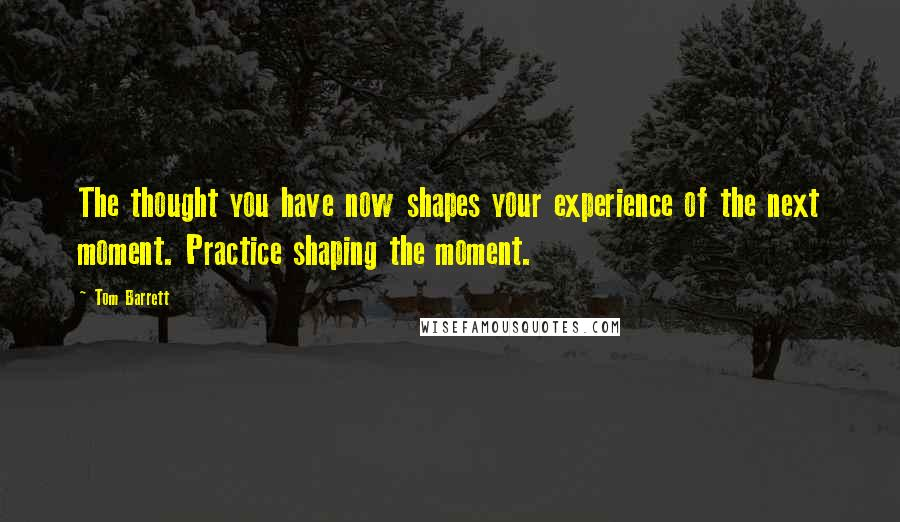 Tom Barrett Quotes: The thought you have now shapes your experience of the next moment. Practice shaping the moment.