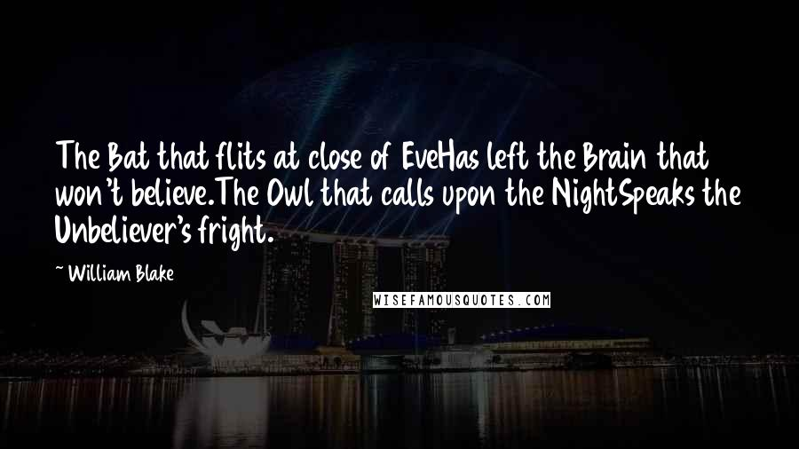 William Blake Quotes: The Bat that flits at close of EveHas left the Brain that won't believe.The Owl that calls upon the NightSpeaks the Unbeliever's fright.