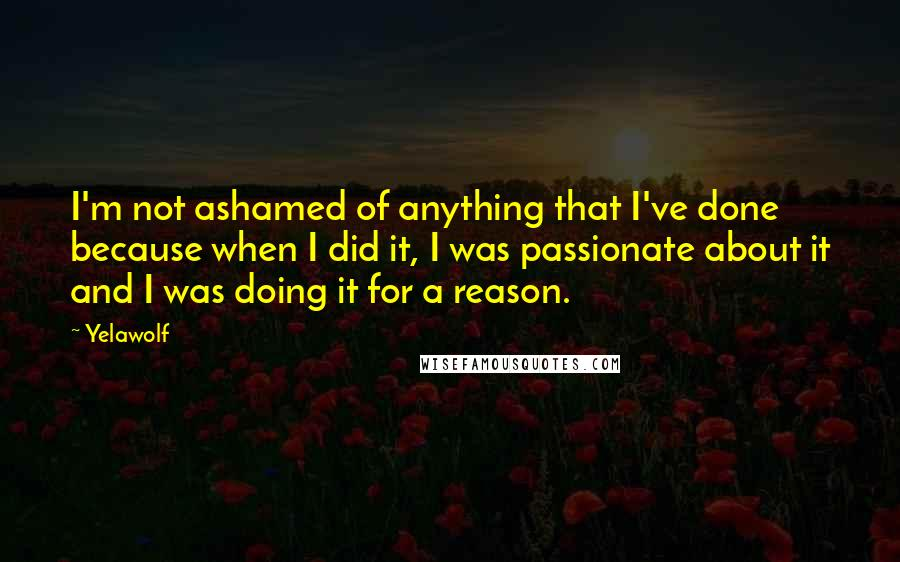 Yelawolf Quotes: I'm not ashamed of anything that I've done because when I did it, I was passionate about it and I was doing it for a reason.