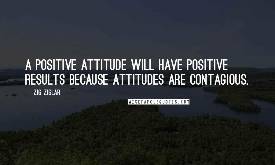Zig Ziglar Quotes: A positive attitude will have positive results because attitudes are contagious.